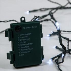 ΣΕΙΡΑ ΜΠΑΤΑΡΙΑΣ, 96 LED 5mm, 4.5V, 8 ΠΡΟΓΡΑΜΜΑΤΑ, ΧΡΟΝΟΔΙΑΚΟΠΤΗΣ, ΠΡΑΣΙΝΟ ΚΑΛΩΔΙΟ, ΛΕΥΚΟ LED, ANA 10cm, ΙΡ44