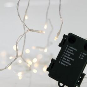 ΣΕΙΡΑ ΜΠΑΤΑΡΙΑΣ, 20 LED 5mm, 8 ΠΡΟΓΡΑΜΜΑΤΑ, ΧΡΟΝΟΔΙΑΚΟΠΤΗ, ΔΙΑΦΑΝΟ ΚΑΛΩΔΙΟ, ΘΕΡΜΑ ΛΕΥΚΑ LED, ΑΝΑ 10cm, IP44.