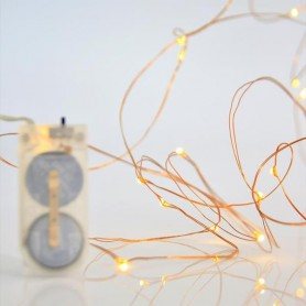 ΣΕΙΡΑ 12 MINI LED, ΜΠΑΤΑΡΙΑΣ, 2xCR2032, 10cm ΠΡΟΕΚΤΑΣΗ ΠΑΡΟΧΗΣ, ΜΠΡΟΝΖΕ ΧΑΛΚΟΣ,  ΘΕΡΜΟ ΛΕΥΚΟ LED, ΑΝΑ 10cm, 1,2m, IP20