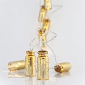 ΣΕΙΡΑ ΜΠΑΤΑΡΙΑΣ, 10 LED ΘΕΡΜΑ ΛΕΥΚΑ, ΜΠΟΥΚΑΛΑΚΙΑ ΧΡΥΣΑ, ΑΝΑ 15cm, IP20.