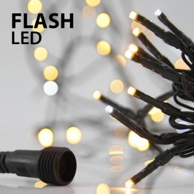 ΣΕΙΡΑ, 100 LED 3mm, 31V, ΕΠΕΚΤΑΣΗ ΕΩΣ 3, ΠΡΑΣΙΝΟ ΚΑΛΩΔΙΟ, ΧΑΛΚΙΝΟ ΘΕΡΜΟ LED, 9 ΛΕΥΚΑ FLASH LED, ANA 10cm, ΙΡ44