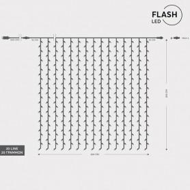 ΚΟΥΡΤΙΝΑ, 360 LED 3mm, 36V, ΕΠΕΚΤΑΣΗ ΕΩΣ 3, ΔΙΑΦΑΝΟ ΚΑΛΩΔΙΟ, ΘΕΡΜΟ ΛΕΥΚΟ LED, 36 ΛΕΥΚΑ FLASH LED, 200x200cm, ΙΡ44
