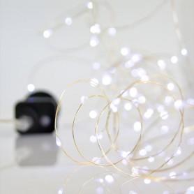ΣΕΙΡΑ, 100 MINI LED, 4,5V, 8 ΠΡΟΓΡΑΜΜΑΤΑ, ΑΣΗΜΙ ΧΑΛΚΟΣ, ΛΕΥΚΟ LED ANA 10cm, ΙΡ44