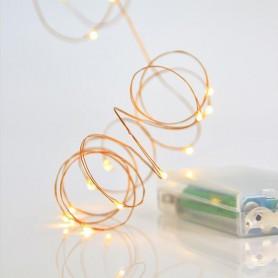 ΣΕΙΡΑ 20 MINI LED, ΜΠΑΤΑΡΙΑΣ, 3xAA, 10cm ΠΡΟΕΚΤΑΣΗ ΠΑΡΟΧΗΣ, ΜΠΡΟΝΖΕ ΧΑΛΚΟΣ, ΘΕΡΜΟ ΛΕΥΚΟ LED, ΑΝΑ 10cm, 2m, IP20