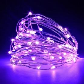 ΣΕΙΡΑ, 100 ΜΙΝΙ LED, ΣΤΑΘΕΡΟ, ΜΕ ΜΕΤΑΣΧΗΜΑΤΙΣΤΗ, ΠΡΟΕΚΤΑΣΗ ΠΑΡΟΧΗΣ 5m, ΑΣΗΜΙ ΧΑΛΚΟΣ, ΜΩΒ LED, ANA 10cm, 10m, ΙΡ44