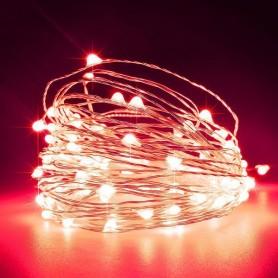 ΣΕΙΡΑ, 100 ΜΙΝΙ LED, ΣΤΑΘΕΡΟ, ΜΕ ΜΕΤΑΣΧΗΜΑΤΙΣΤΗ, ΠΡΟΕΚΤΑΣΗ ΠΑΡΟΧΗΣ 5m, ΑΣΗΜΙ ΧΑΛΚΟΣ, ΚΟΚΚΙΝΟ LED, ANA 10cm, 10m, ΙΡ44