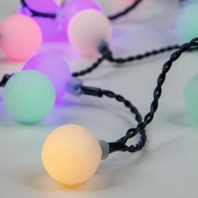 ΣΕΙΡΑ, 80 LED ΑΝΑ 10cm, 31V, ΛΕΥΚΕΣ ΜΠΑΛΕΣ Φ 2cm, ΕΠΕΚΤΑΣΗ ΕΩΣ 3, ΠΡΑΣΙΝΟ ΚΑΛΩΔΙΟ, RGB LED, IP44