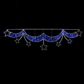 ΜΠΟΡΝΤΟΥΡΑ ΜΠΛΕ, ΜΕ ΛΕΥΚΑ ΑΣΤΕΡΙΑ, LED ΦΩΤ/ΝΑ 21m, 350x92cm, IP44