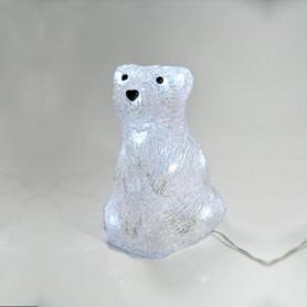 ΑΚΡΥΛΙΚΗ ΑΡΚΟΥΔΑ ΚΑΘΙΣΤΗ 3D ΜΕ 16 ΛΕΥΚΑ LED, 13x15x18cm.