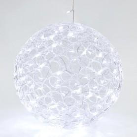 ΑΚΡΥΛΙΚΗ ΜΠΑΛΑ, 100 ΛΕΥΚΑ LED, ΜΕ ΜΕΤΑΣΧΗΜΑΤΙΣΤΗ, 40cm, IP44