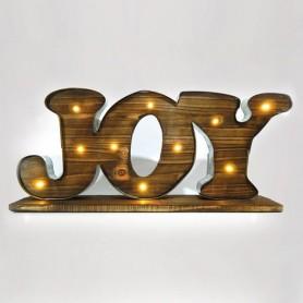 """ΕΠΙΓΡΑΦΗ ΞΥΛΙΝΗ, """"JOY"""", ΦΩΤΙΖΟΜΕΝΗ, 50x9x23cm"""