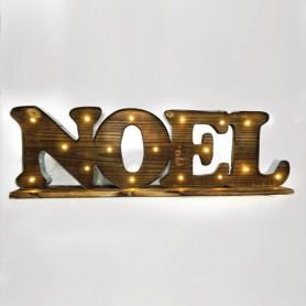 """ΕΠΙΓΡΑΦΗ ΞΥΛΙΝΗ, """"NOEL"""", ΦΩΤΙΖΟΜΕΝΗ, 71x10x22cm"""
