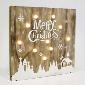 """ΕΠΙΓΡΑΦΗ ΞΥΛΙΝΗ, """"MERRY CHRISTMAS"""", ΦΩΤΙΖΟΜΕΝΗ, 30x5x30cm"""
