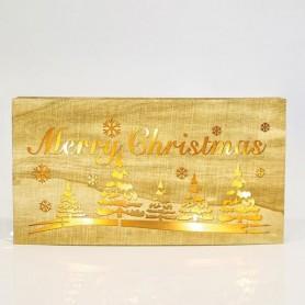 """ΕΠΙΓΡΑΦΗ ΞΥΛΙΝΗ ΦΩΤΙΖΟΜΕΝΗ """"MERRY CHRISTMAS"""", 8 ΘΕΡΜΑ ΛΕΥΚΑ LED, 34x18cm."""