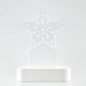 ΑΣΤΕΡΙ PLEXI GLASS, ΦΩΤΙΖΟΜΕΝΟ, 5 LED, ΜΠΑΤΑΡΙΑΣ, 13x5,5x19,5cm