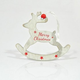 """ΤΑΡΑΝΔΟΣ, ΞΥΛΙΝΟΣ ΜΕ ΚΟΚΚΙΝΟ """"MERRY CHRISTMAS"""",19x12x0,5cm."""