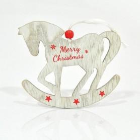 """ΑΛΟΓΑΚΙ, ΞΥΛΙΝΟ ΜΕ ΚΟΚΚΙΝΟ """"MERRY CHRISTMAS"""",19x12x0,5cm."""