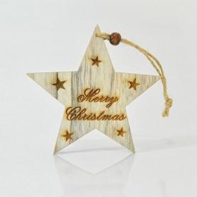 """ΑΣΤΕΡΙ ΞΥΛΙΝΟ, """"MERRY CHRISTMAS"""", 20x11,5x0,5cm"""