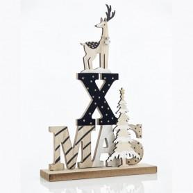 ΄'X''MAS ΜΕ ΤΑΡΑΝΔΟ, ΞΥΛΙΝΟ, 20x6x30cm
