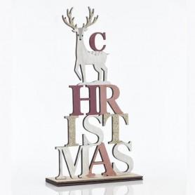 ΕΠΙΓΡΑΦΗ ''CHRISTMAS'' ΜΕ ΤΑΡΑΝΔΟ, 14x5x26,5cm