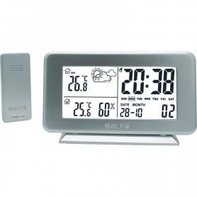 Μετεωρολογικός σταθμός επιτραπέζιος Με Ρολόι  Μέτρηση εξωτερικής Θερμοκρασίας Silver
