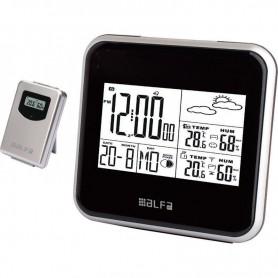 Μετεωρολογικός σταθμός επιτραπέζιος Με Ρολόι  Μέτρηση εξωτερικής Θερμοκρασίας - Yγρασίας Μαύρο-Silver