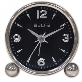 Ρολόι Επιτραπέζιο Αναλογικό ΑΜ03 Μεταλλικό  Αθόρυβο Chrome-Μαύρο