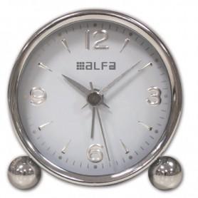 Ρολόι Επιτραπέζιο Αναλογικό Μεταλλικό  Αθόρυβο Chrome-Λευκό