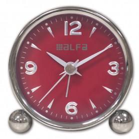 Ρολόι Επιτραπέζιο Αναλογικό Μεταλλικό  Αθόρυβο Chrome-Κόκκινο