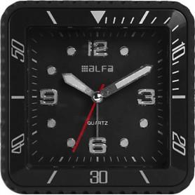 Ρολόι Επιτραπέζιο Αναλογικό 2810 Τετράγωνο Αθόρυβο LED Φωτισμός Μαύρο