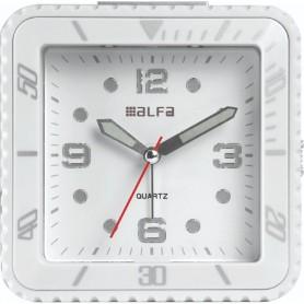 Ρολόι Επιτραπέζιο Αναλογικό 2810 Τετράγωνο Αθόρυβο LED Φωτισμός Λευκό