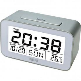 Ρολόι Επιτραπέζιο Ψηφιακό Με Ένδειξη Θερμοκρασίας Silver-Λευκό