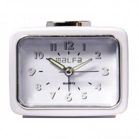 Ρολόι Επιτραπέζιο Αναλογικό ALTC-60168 Αθόρυβο με φωτισμό Λευκό Rubber