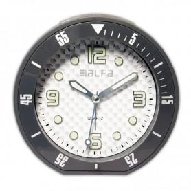 """Ρολόι Επιτραπέζιο Αναλογικό ALTC-60173 Αθόρυβο με φωτισμό """"Decors"""" Ανθρακί Rubber"""