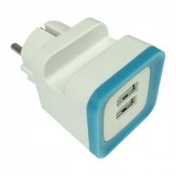 ΑΝΤΑΠΤΟΡΑΣ ΑΠΟ ΣΟΥΚΟ ΣΕ 2 USB 5V DC 2,4A ΜΠΛΕ