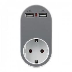 ΑΝΤΑΠΤΟΡΑΣ ΣΟΥΚΟ ΜΕ 2 USB ΓΚΡΙ, ΜΕ ΠΡΟΣΤΑΣΙΑ ΥΠΕΡΤΑΣΗΣ & ΠΑΙΔΙΚΗ ΠΡΟΣΤΑΣΙΑ