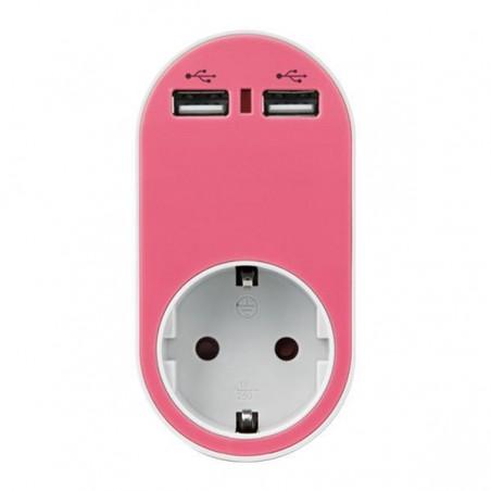 ΑΝΤΑΠΤΟΡΑΣ ΣΟΥΚΟ ΜΕ 2 USB ΡΟΖ, ΜΕ ΠΡΟΣΤΑΣΙΑ ΥΠΕΡΤΑΣΗΣ & ΠΑΙΔΙΚΗ ΠΡΟΣΤΑΣΙΑ