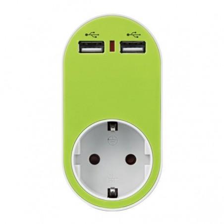 ΑΝΤΑΠΤΟΡΑΣ ΣΟΥΚΟ ΜΕ 2 USB ΠΡΑΣΙΝΟ, ΜΕ ΠΡΟΣΤΑΣΙΑ ΥΠΕΡΤΑΣΗΣ & ΠΑΙΔΙΚΗ ΠΡΟΣΤΑΣΙΑ